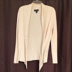 Dana Buchanan Cream Sweater Shrug w Sequins, Large